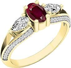 Dazzlingrock Collection 18K 6X4 MM Oval Gemstone, Pear White Sapphire & Round Diamond Ladies 3 Stone Ring, Yellow Gold