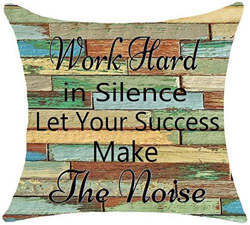 PotteLove Woodgrain Life Inspirationele citaten werken hard in stilte laat uw succes maken de lawaai katoenen linnen gooien kussensloop kussensloop voor bank stoel Decor 24x24 inch