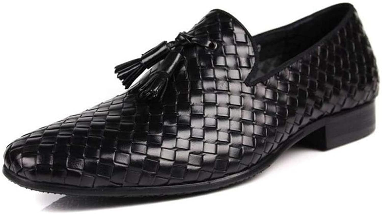 Men's Casual shoes Leather Low-top shoes Hand-Woven Single shoes Cover Foot Leather shoes