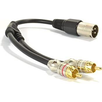 kenable XLR Adapter Plug to 2 x Phono RCA Plug Adapter Cable Lead 25cm (~10 inch)