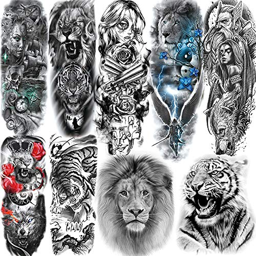 9 Sheets ALISA Tribal Lion Forest Tiger King Full Arm Temporary Tattoo Sleeve For Men Adults Indian Warrior Full Sleeve Temporary Tattoos For Women Black Waterproof Fake Realistic Tatoos Cool Wolf
