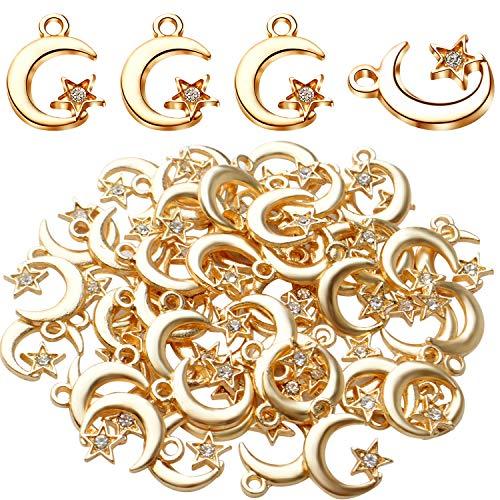 50 colgantes de aleación de oro de 17 mm con diamantes de imitación de aleación de estrella y luna creciente con colgantes de diamantes de imitación para manualidades, joyería y suministros