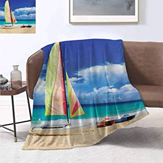jecycleus Holiday Rugged or Durable Camping Blanket Exotic Cuban Beach with Wind Surfing Boat and Waves Tropical Summer Coastal Picture Warm and Washable W54 by L72 Inch Blue Cream