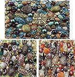perline per la creazione di gioielli, set da circa 1200, 3 colori: giada, arancione e marrone-verde