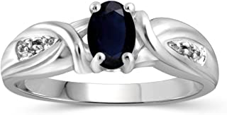 Jewelexcess 0.60 Carat T.G.W. Sapphire and White Diamond Accent Sterling Silver Ring