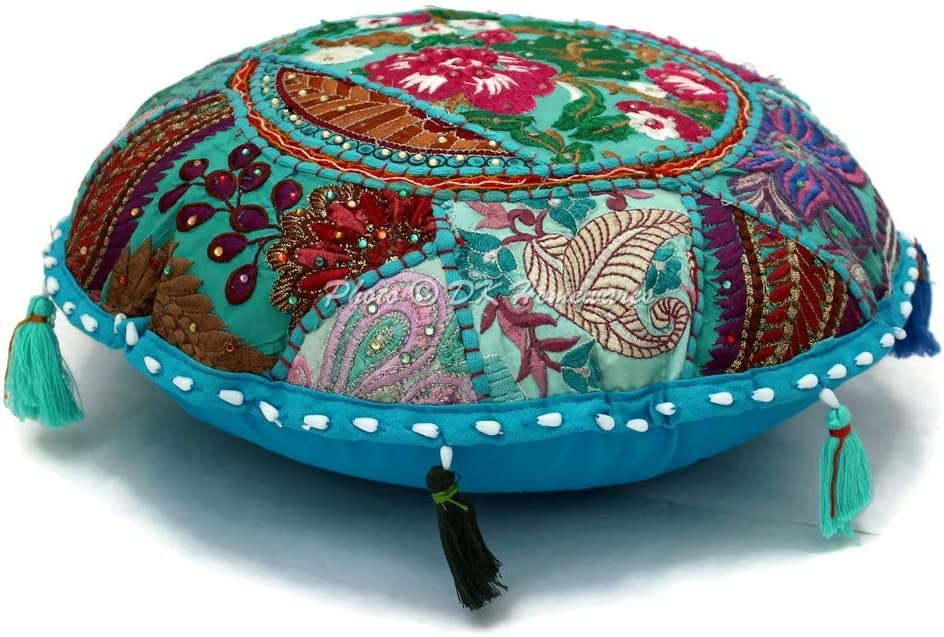 DK Homewares Round Traditional Floor Adult Pillow Denver Mall Turqu Challenge the lowest price Bohemian