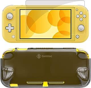 tomtoc Nintendo Switch Lite 対応 ケース セット 超薄カバー + 強力ガラスフィルム、任天堂スイッチライト 透明カバー、 液晶保護 全面保護 着脱簡単 衝撃吸収、ダークグレー