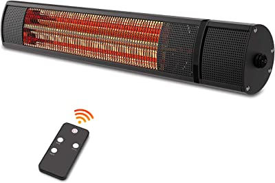PATIOBOSS Electric Patio Heater - Outdoor Heater Wall Mounted Super Quiet 1500W Fast Heat Gold Tube Infrared Space Heater with Remote Control Safe Overheat Protection Ceiling Hang for Garage IP65