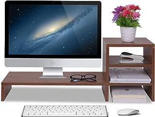 WAYTRIM Computer Monitor Stand Riser Wooden with 3-Tier Desktop, Storage Organizer Desk Shelf Riser for Home and Office Use, Walnut