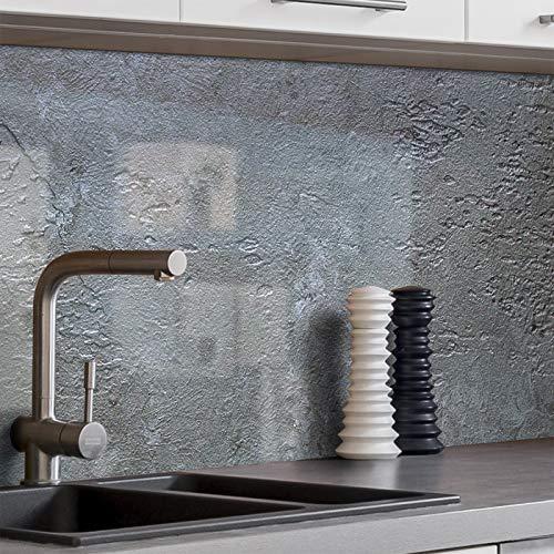 BilderKing Küchenrückwand selbstklebend Muster 30x20cm Stein-Wand Schiefer grau Spritzschutz für Ihre Küche in Glasoptik, Absolute Deckung und Haftung auf Fliesenspiegel und sonstigen Untergründen