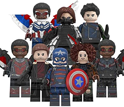 8/pcs Falcon and Winter Soldier Minifigures Tommy US Agent Winter Action Figures Super Heros Winter Soldier Falcon Karl Zemo John Walker