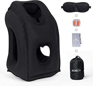 HOMCA Upgraded Inflatable Travel Pillow for Airplanes - Portable Plane Pillow for Head Neck Rest on Flight, Cars, Office N...