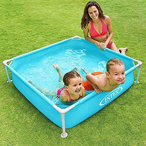 Blau Rechteckiger Röhrchenrack Garten Halterung Pool Klapp Kunststoff Wanne 122 * 122 * 30Cm