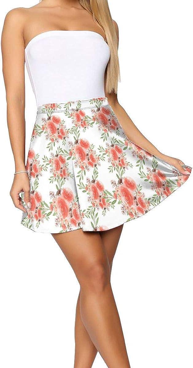 Women's Basic Print High Waist A Line Flared Skater Mini Skirt