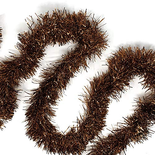 Allgala 50 Feet Christmas Foil Tinsel Garland Decoration for Holiday Tree Walll Rail Home Office Event-Brown-XG93211