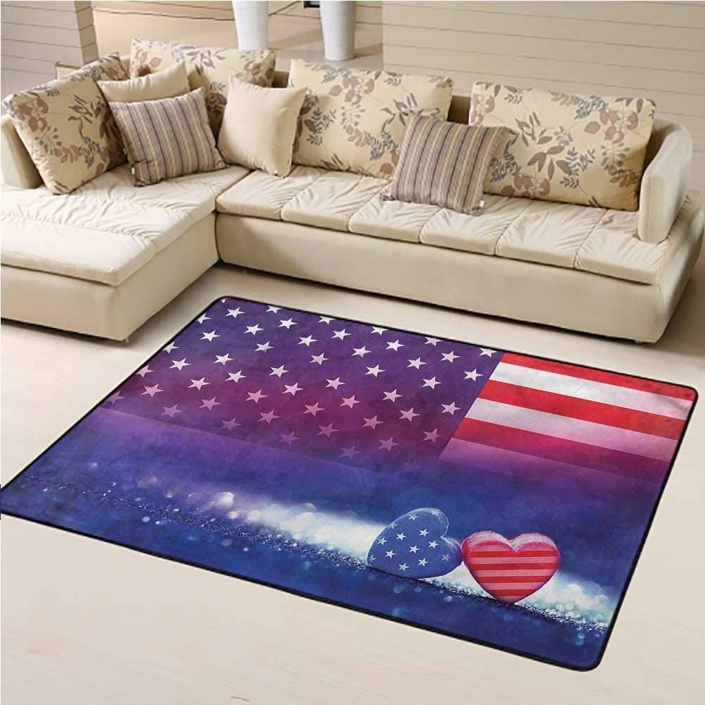 Kids Area Philadelphia Mall Rugs American Flag for Hardwood Country Floors Hearts Finally popular brand