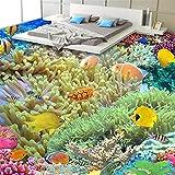 LONGJUAN-C カーペット 海景壁画、3Dフローリング壁紙カスタム立体写真ウォールカバーカラフルなアンダーウォーターワールドフロアステッカーPVC自己粘着ウォールペーパー、250X200CM 絨毯