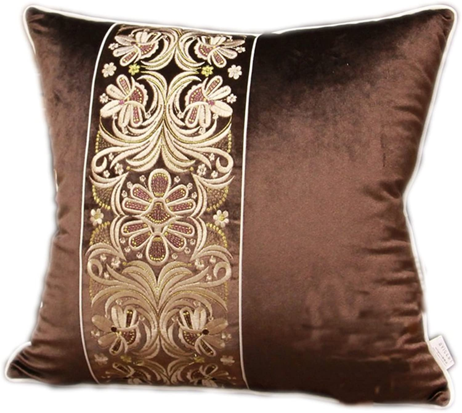 Pillow Flannel Embroidery Bedside Sofa Cushions Large Backrest (color   1 , Size   4545cm)
