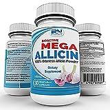 Mega Allicin 100% Allicin from Garlic 180,000mcg 30 Veggie-Caps, Odorless, Non-GMO, and Gluten-Free (30 Count)
