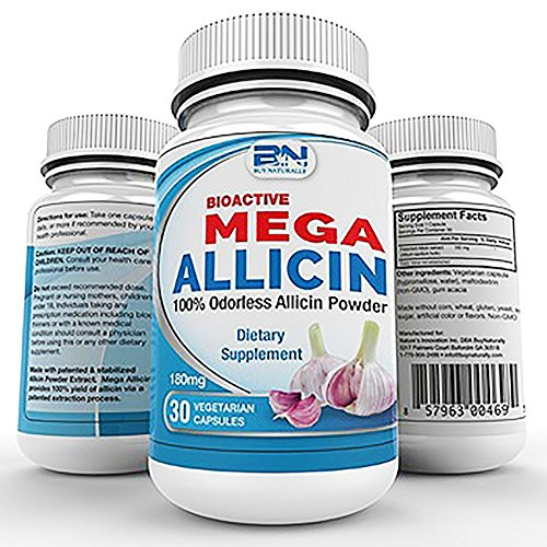 Mega Allicin 100% Allicin from Garlic 180,000mcg vCaps, Odorless, Non-GMO, and Gluten-Free (30 Count)