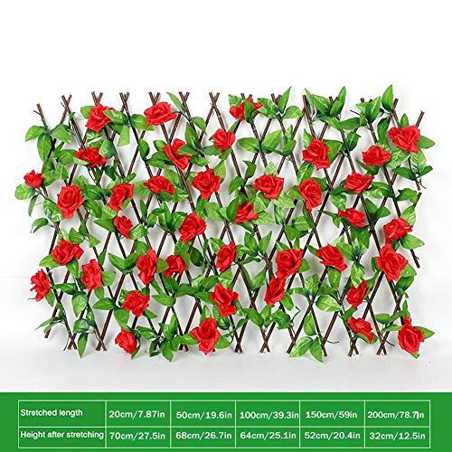 Holz Rankzaun Holz Rankgitter Scherengitter Rankhilfe mit künstlichen Einziehbarer Gartenzaun Blumen Spalier Holzgitter Sichtschutz für Balkongarten Terrasse