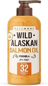Petsmont Wild Alaskan Salmon Oil for Dogs Formula 32 oz, Dog Fish Oil, Dog Salmon Oil, Omega Oil for Dogs, Liquid Fish Oil for Dogs Liquid Pump, Omega 3 for Dogs