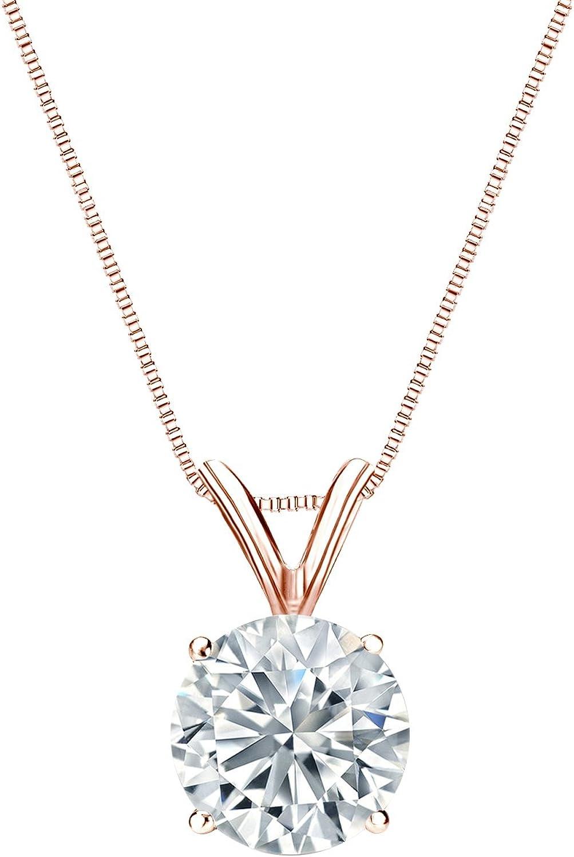 Diamond Wish 14k Rose Gold Pendant Max 76% OFF Round Solitaire Finally popular brand Neckl