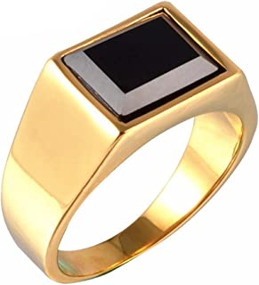 Jewelry Men's Retro Rings Stainless Steel Black Onyx Signet Ring Size 8-11