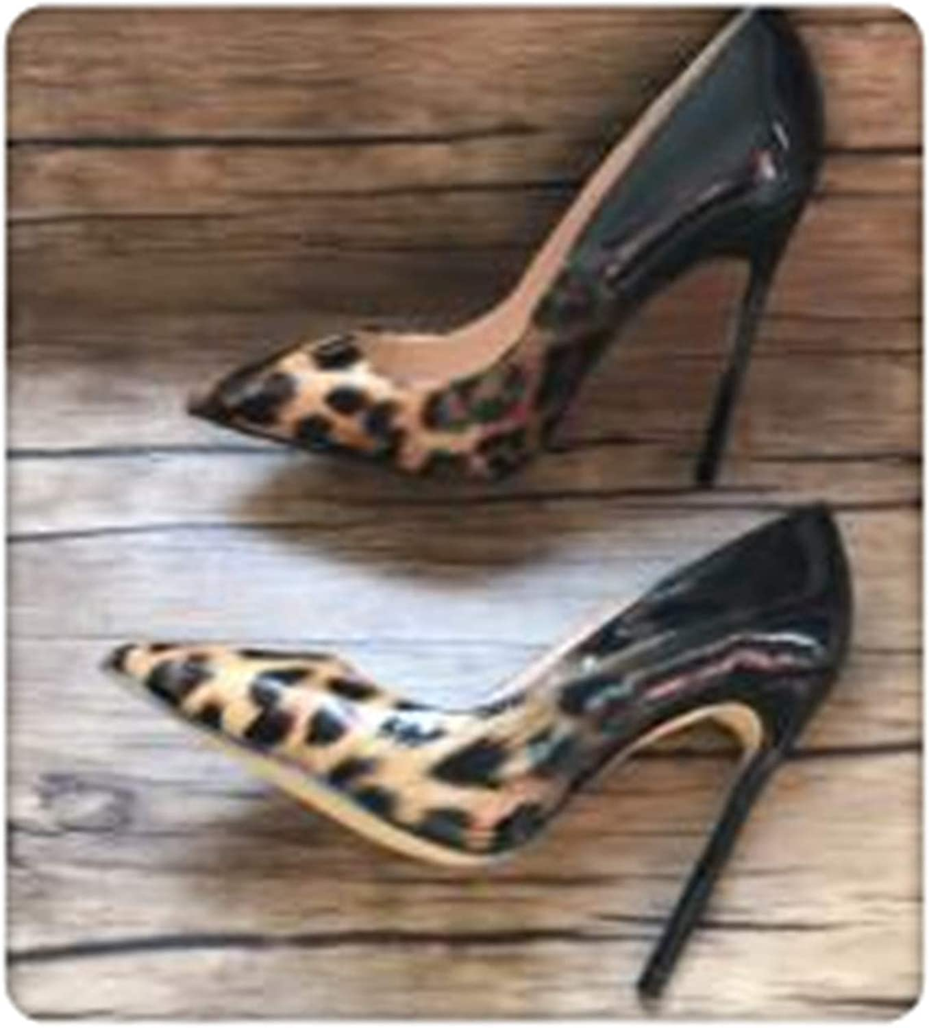 RBHSG Real pic Pointed Toe Leopard to Black Patent Leather Woman Lady Female Adult