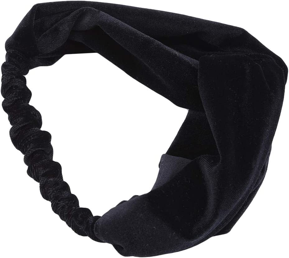 LZIYAN Cross Velvet Headbands Solid Color Elastic Twisted Turban Headwrap Vintage Soft Hair Bands for Women and Girls,Black