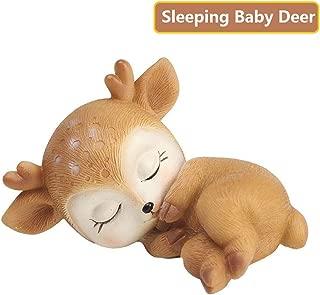 Deer Figurine Cake Topper, Mini 3D Resin Deer Statue Desktop Decoration Figurine Crafts 2.8 inch for Girl or Boy First Birthday Baby Shower (Sleeping Baby Deer)
