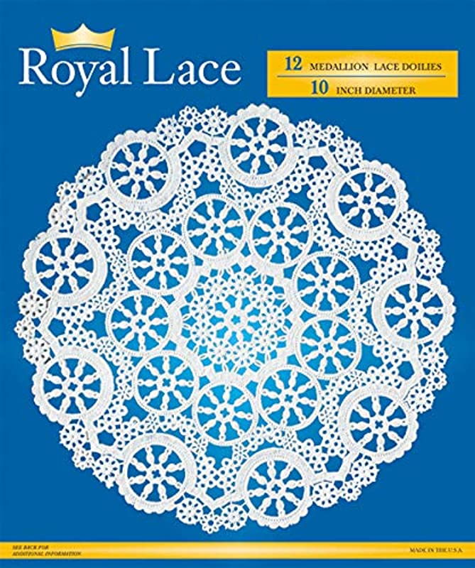 Royal Medallion Lace Round Paper Doilies 10 Inch Pack Of 12 B23005