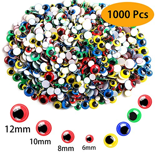 UPINS 1000 Pcs Multicolor Wiggle Googly Eyes for Easter Day with Self-Adhesive,4 Sizes Mixed Packaging