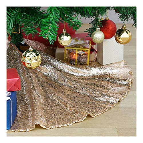 SoarDream Mini Chirstmas Tree Skirt 24 Inches Champagne Gold Small Glitter Sequin Tree Skirt Mat Chirstmas Home Holiday New Years Party Decoration
