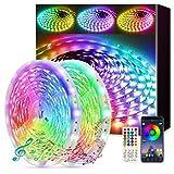 Fortand Ruban LED 30m, 2x15m Bande LED RGB avec Télécommande Multicolores Bandeau Lumineux LED, Kit de Bandes LED Music Sync 5050 SMD Fonction de Minuterie Bluetooth Ruban LED pour Chambre Maison Bar