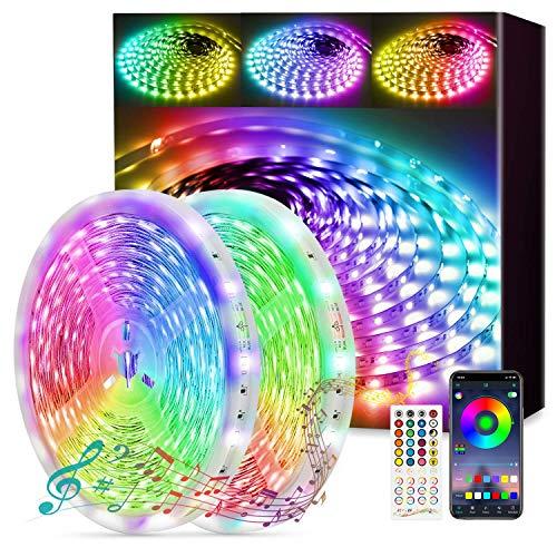 Fortand LED Strip 30m, 2x15m LED Streifen Bluetooth LED Lichterkette RGB 5050, Selbstklebend Lichtband mit Fernbedienung APP Steuerung Musik Sync Farbwechsel Dimmbar LED Leiste für Zuhause Schrankdek