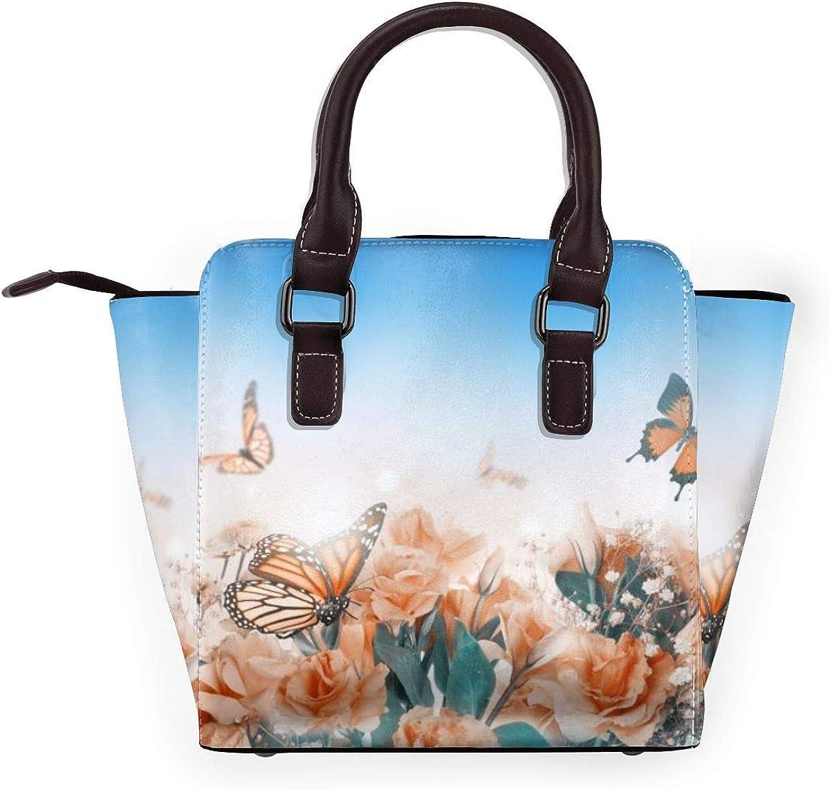 LalaQ Sac à bandoulière en cuir véritable avec rivets papillons camomille pour femme Papillon de Roses Délicates.