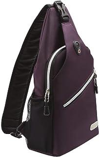 Mosiso Sling Backpack, Polyester Water Repellent Durable Chest Shoulder Unbalance Gym Fanny Lightweight Crossbody Sack Satchel Outdoor Hiking Bag for Men Women Girls Boys Travel Daypack, Purple