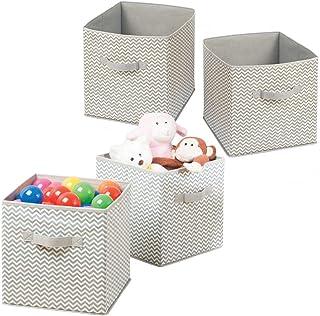 mDesign panier de rangement en tissu, lot de 4 – grand bac de stockage pour couettes, vêtements ou jouets – organiseur de ...