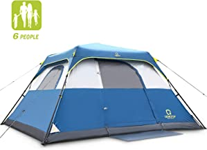 QOMOTOP Camping Tents, 4-10 People Instant Set Up Within 1 Minute Tent Equipped with Rainfly and Carry Bag, Water-Proof Pop up Tent with Electric Cord Acess, Light Weight Cabin Style Tent