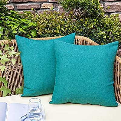"""NEERYO Decorative Outdoor Waterproof Throw Pillow Covers Solid Linen Farmhouse Pillowcases for Garden Patio Tent Balcony Couch Sofa Set of 2 18"""" x 18"""" Peacock Blue"""