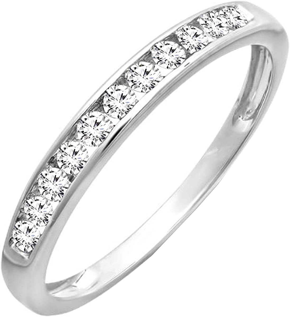 Dazzlingrock Collection 0.30 Carat (ctw) 14K Gold Round Lab Grown Diamond Ladies Stackable Wedding Band 1/3 CT