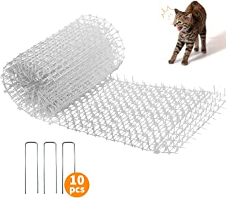 MOSTAR Cat Scat Mat with Spikes (6.5ft) for Digging Stopper Strip Keep Cat/Dog Away, Apply to Indoor/Outdoor, Includes 10 ...