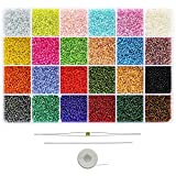 Bala&Fillic Glass Silver Lined Seed Beads 2mm, About 24000pcs in Box 24 Colors 12/0 Small Craft Beads for Jewelry Making (1000pcs/Color, 24 Colors)