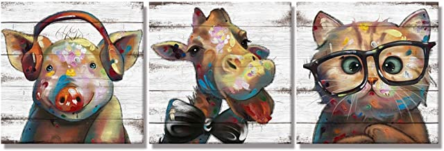 Visual Art Decor Funny Animals Canvas Wall Art Lovely Giraffe Pig Cat with Glass Painting Prints on Retro Wood Texture Bac...