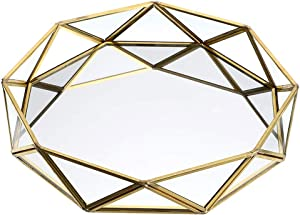 Hipiwe Mirrored Glass Make up Tray - Geometric Jewelry Organizer Tray Ornate Bathroom Vanity Tray Dresser Perfume Tray Home Decor Decorative Tray (Gold)