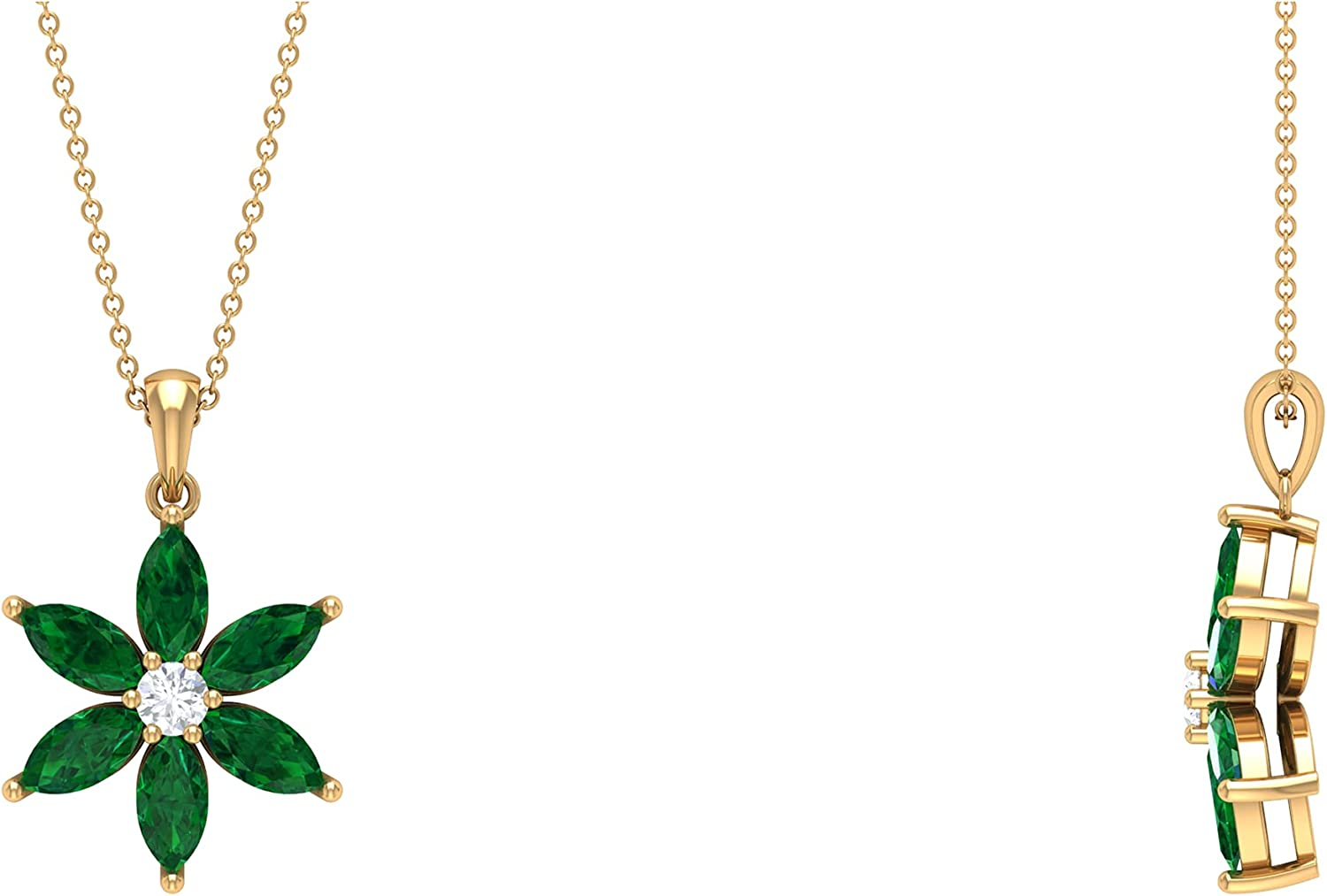 3 CT Marquise Cut Created Emerald with Moissanite Dainty Flower Pendant Necklace (AAAA Quality),14K Solid Gold,Moissanite