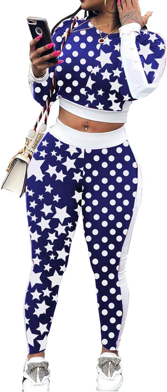 Katblink Women's Polka Dot Long Sleeve High Waist Bodycon 2 Piece Pant Outfits