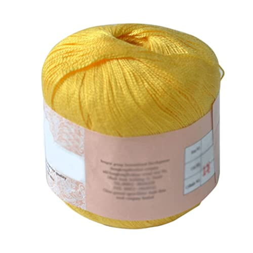 HEART SPEAKER Mercerized Cotton Cord Thread Yarn for Embroidery Crochet Knitting Lace Jewelry (yellow)
