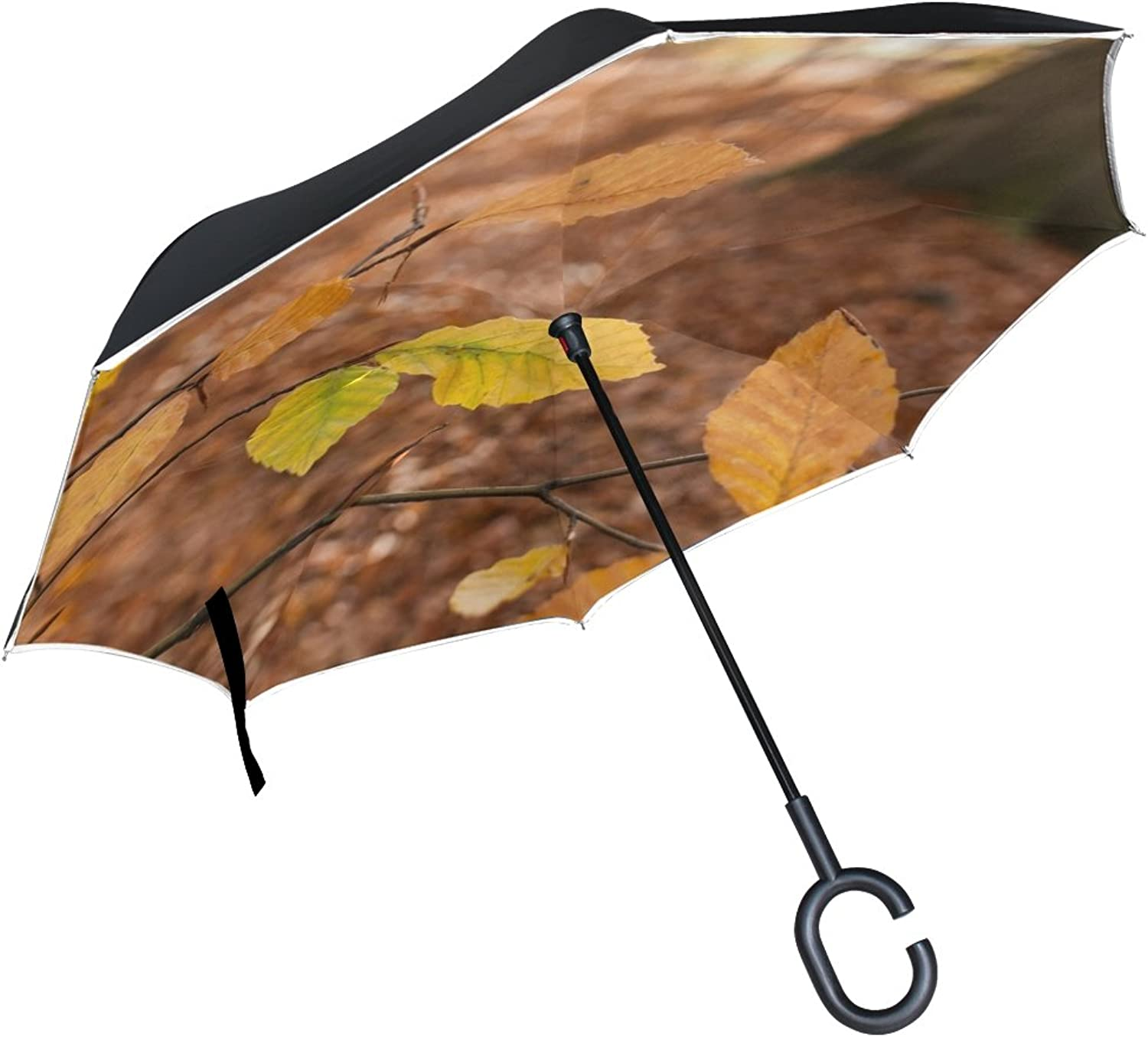 Double Layer Ingreened Autumn Leaves Beech Forest Emerge October Umbrellas Reverse Folding Umbrella Windproof Uv Predection Big Straight Umbrella for Car Rain Outdoor with CShaped Handle